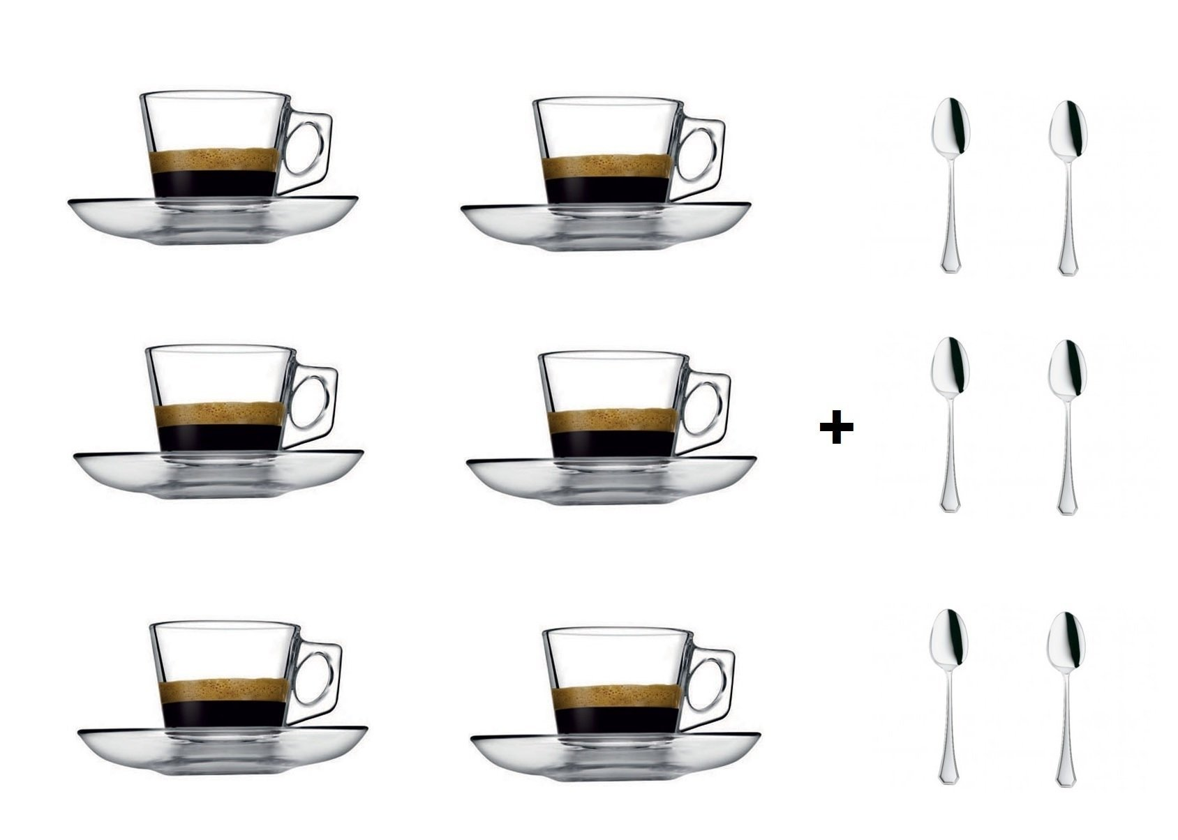 VELA 3.2-Ounce. Small Demitasse Clear Glass Espresso Drinkware, Set of 6 Cups/Saucers + Set of 6 Stainless Steel 18/10 mini Espresso Spoons! Hostess, Coffee Lover/Enthusiast, Espresso.