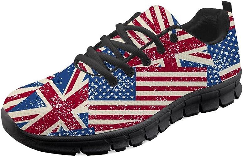 Gopumchy - Zapatillas de Running para Hombre, con Banderas, Color Negro, Suela Transpirable, con Cordones, para el Tiempo Libre, Correr, Fitness, Gimnasio, IR de Compras: Amazon.es: Zapatos y complementos