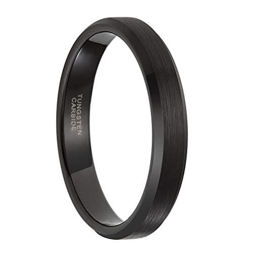 Frank S Burton 4mm 6mm 8mm Mens Black Wedding Bands Tungsten Rings