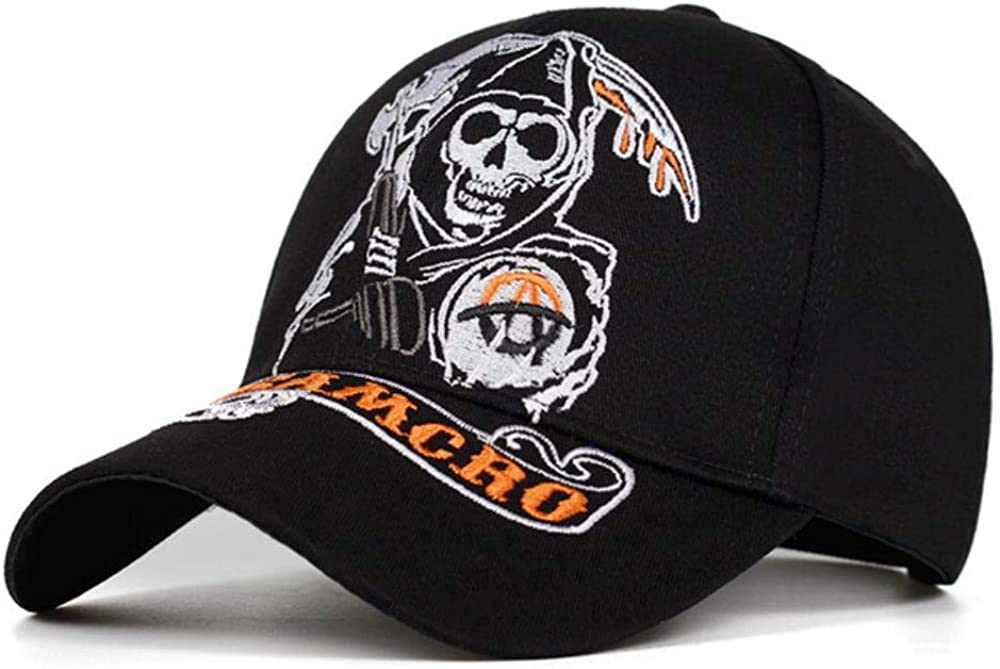 Casquette de Baseball SOA Sons of Anarchy Cr/âne Broderie Casual Snapback Chapeau Mode Haute Qualit/é Racing Moto Sport Chapeau