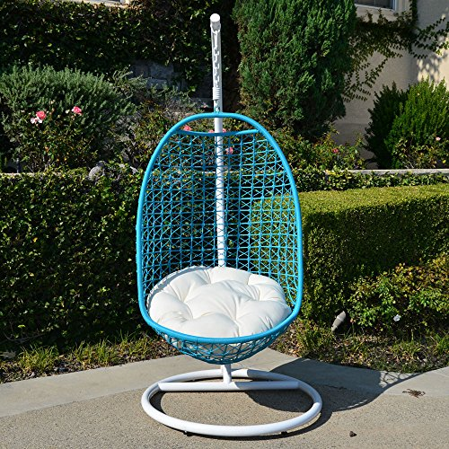 Wicker Rattan Swing Bed Chair Weaved Egg Shape Hanging Hammock In or Out Door Patio Porch - White Turquoise Khaki by Generic