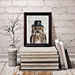 """Dictionary Art Print - Steampunk Owl """"Sir Oliver Owlfeather"""" with Top Hat and Goggles and Skeleton Key - Printed on Recycled Vintage Dictionary Paper - 8""""x11"""" - Mixed Media Poster on Vintage Dictionary Page 8"""