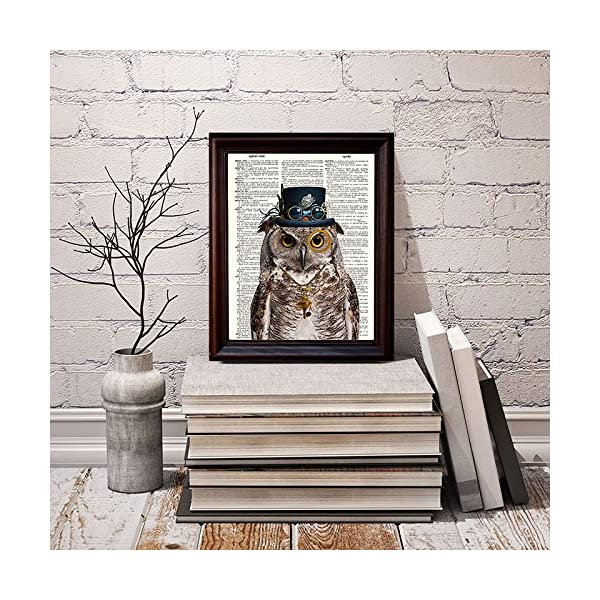 """Dictionary Art Print - Steampunk Owl """"Sir Oliver Owlfeather"""" with Top Hat and Goggles and Skeleton Key - Printed on Recycled Vintage Dictionary Paper - 8""""x11"""" - Mixed Media Poster on Vintage Dictionary Page 5"""