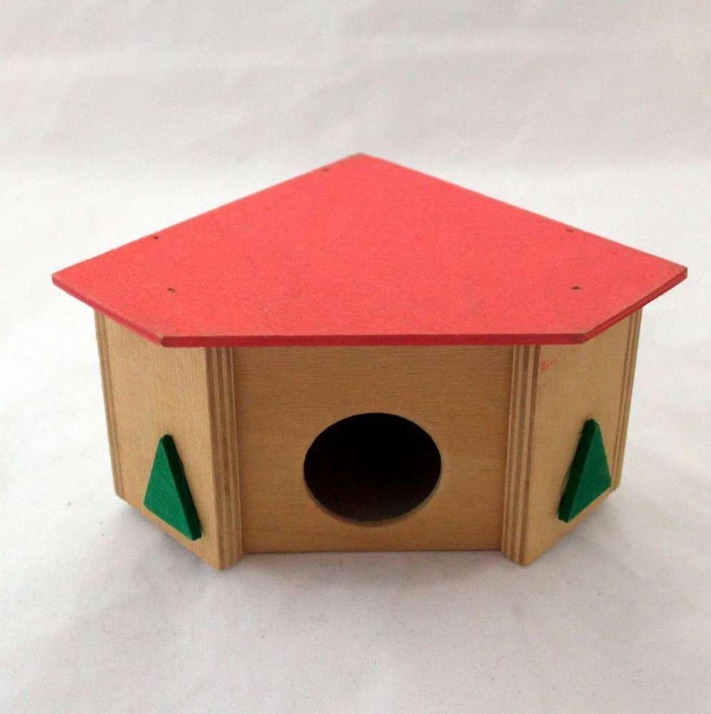 Pino 03 - Caseta de esquina para hámster y ratones de madera con tejado plano, einstieg redondo: Amazon.es: Productos para mascotas
