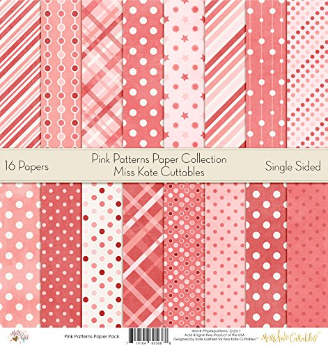 Pattern Paper Pack - Pink Patterns - Scrapbook Card Stock Single-Sided 12