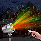 Christmas Lights, Waterproof LED Red and Green Star Motion Fairy Shower Magic Landscape Projection Lighting Slide Show Projector Display for Outdoor Outside House Holidays Xmas Decoration(Silver)