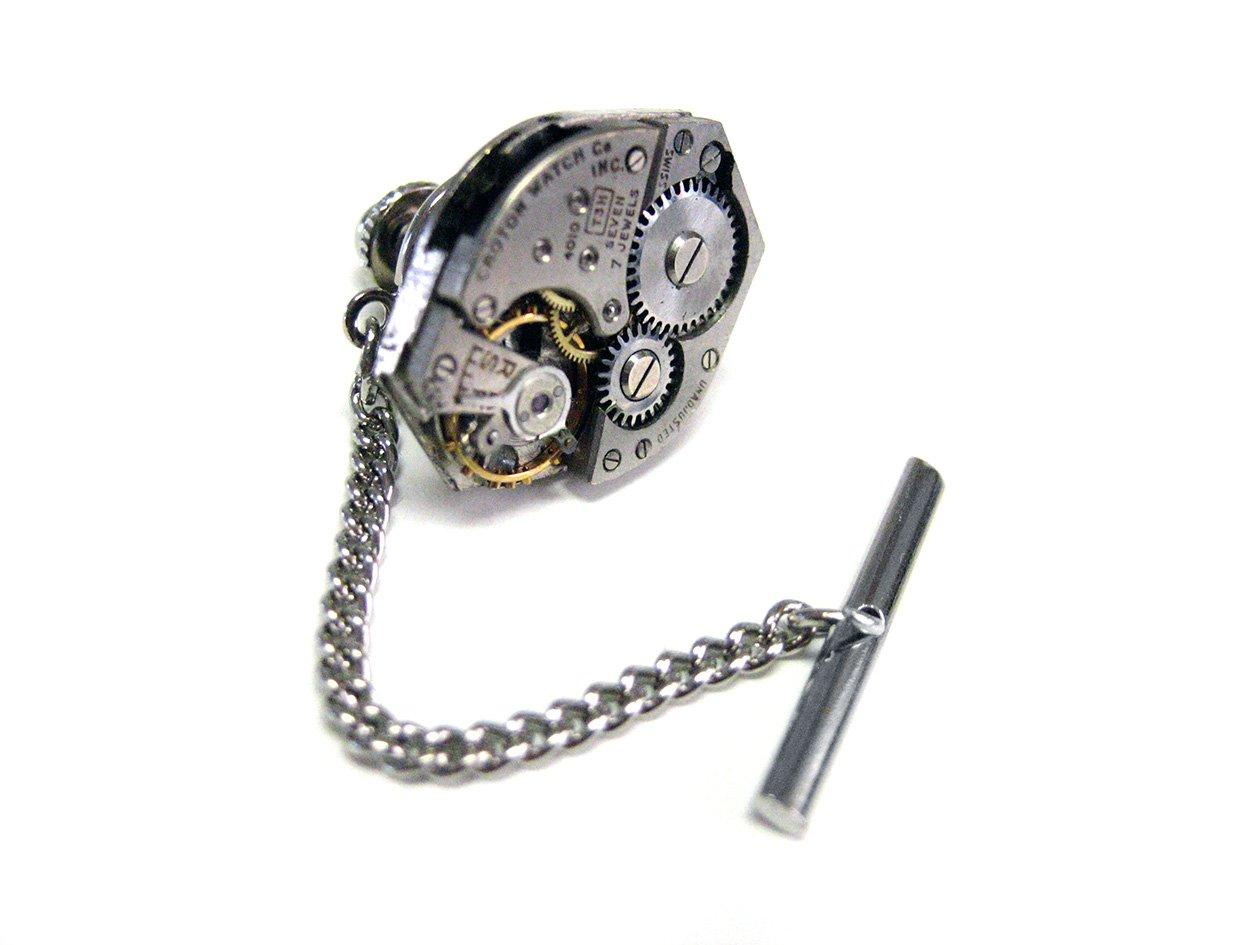 Kiola Designs Classic Oval Watch Gear Steampunk Tie Tack