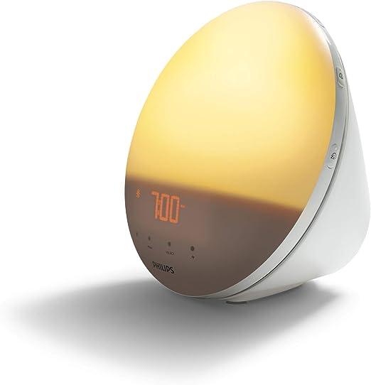 Philips Wake-up Light HF3531/01 Despertador de luz, 7 sonidos naturales, radio FM, alarma, con cargador móvil, 16.5 W, Blanco