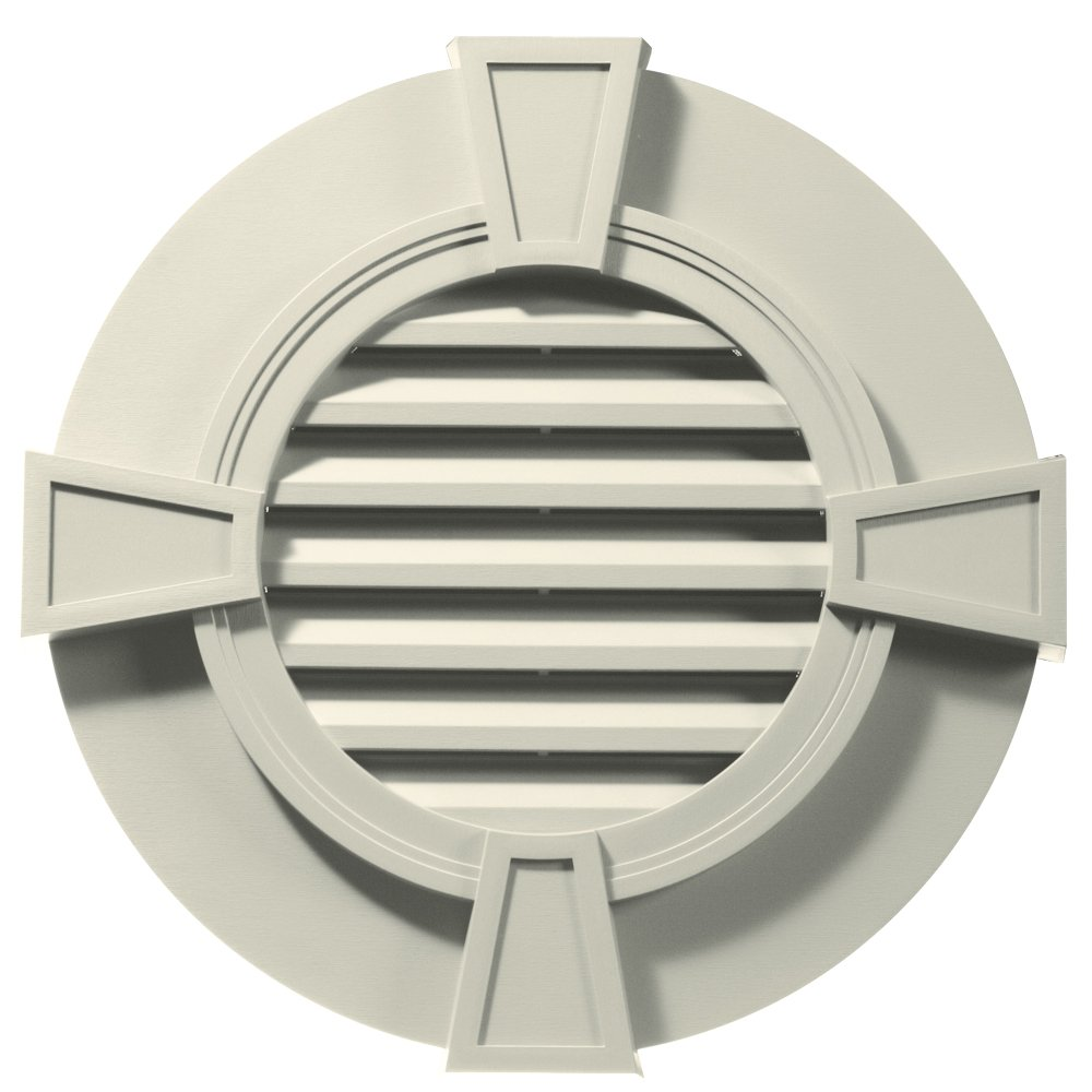 Builders Edge 120033030082 30'' Round Octagon Vent Wide Ring and Keystones 082, Linen