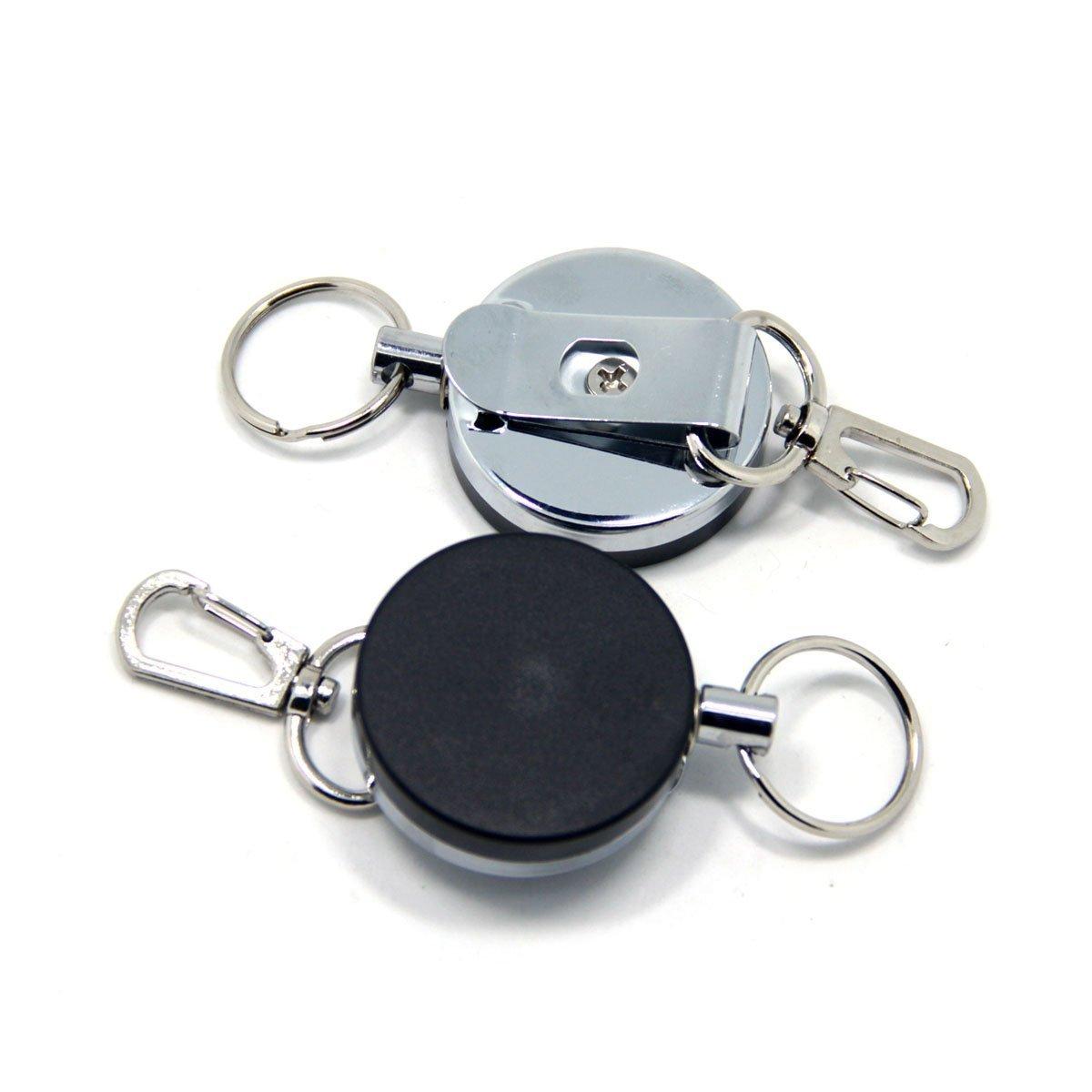 topind Angeln Zinger Retractor G/ürtelclip R/ückseite mit Edelstahl Kabel Metall Einklappbare Schl/üssel Kette von 2/Pcs