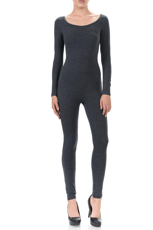 7Wins Women Catsuit Cotton Lycra Tank Long Sleeve Yoga Bodysuit Jumpsuit (Large, Charcoal)