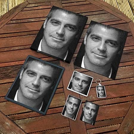 George Clooney Original Art Gift Set Js002 Includes A4 Canvas