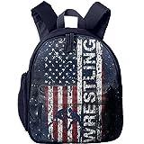 Usa Flag Wrestling Toddler Kids Backpack Preschool Backpack Navy Mini Backpack