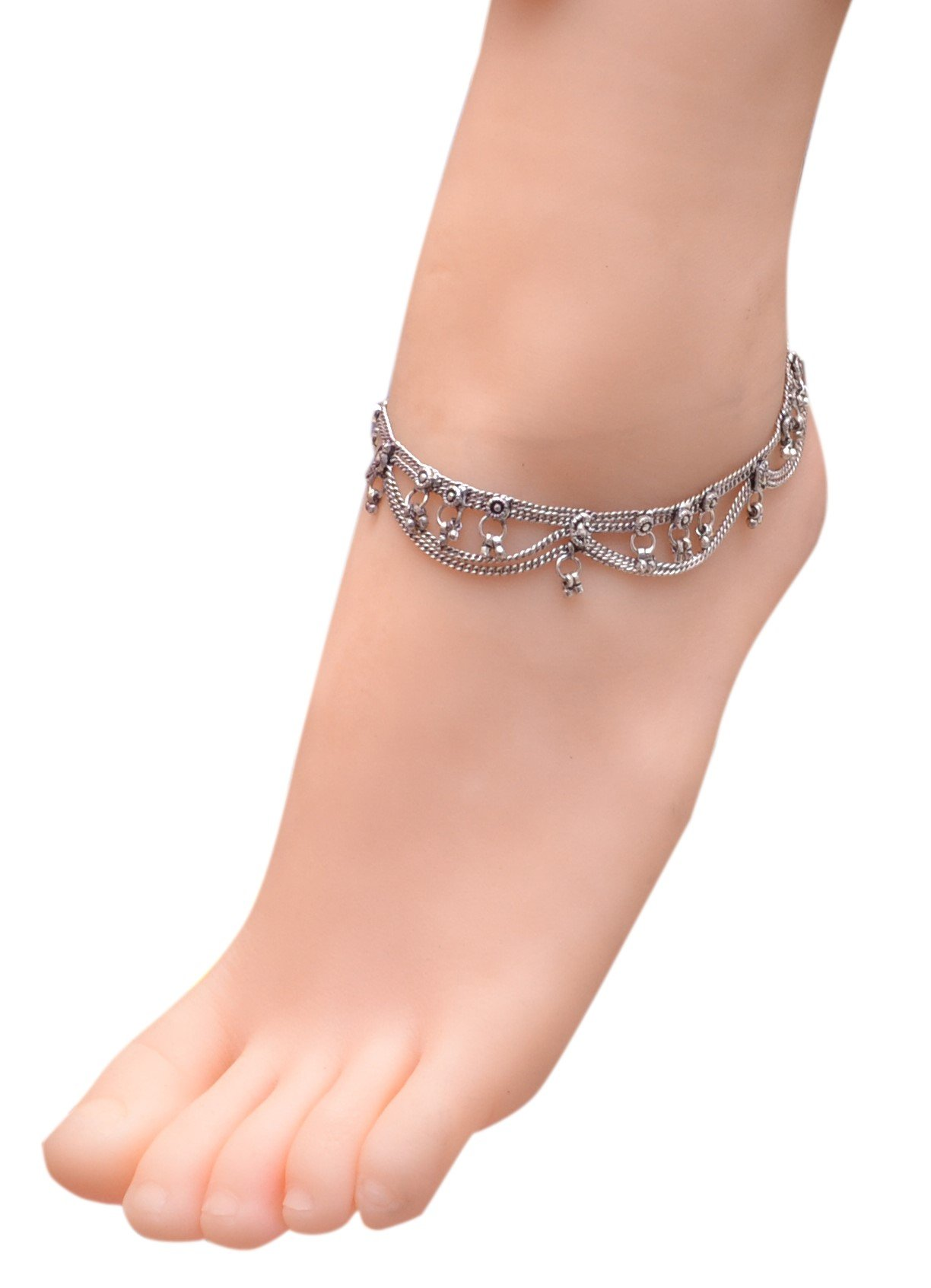 Sansar India Oxidized Two Layer Chain Indian Anklet Jewelry for Girls and Women