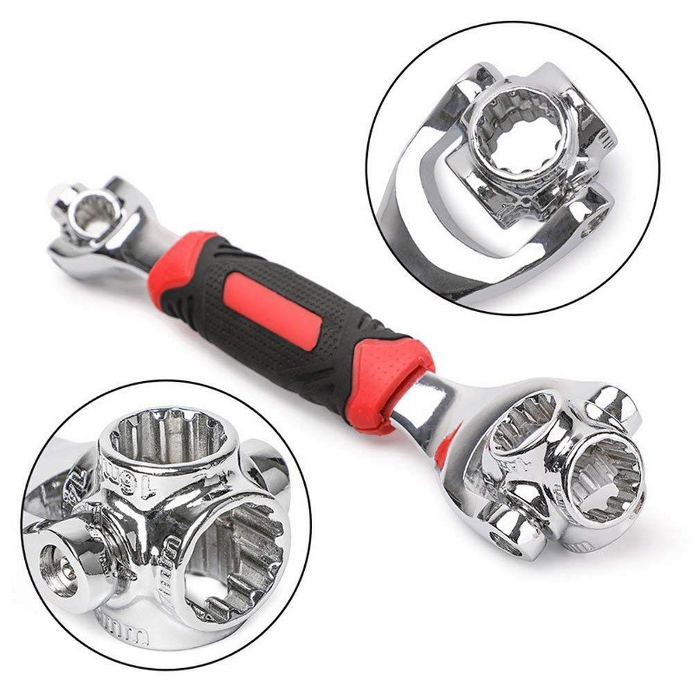 rotaci/ón de 360/° Llave de carraca 52 en 1 llave de tuerca con 12 dientes de torsi/ón multifunci/ón universal para reparaci/ón de muebles y coches