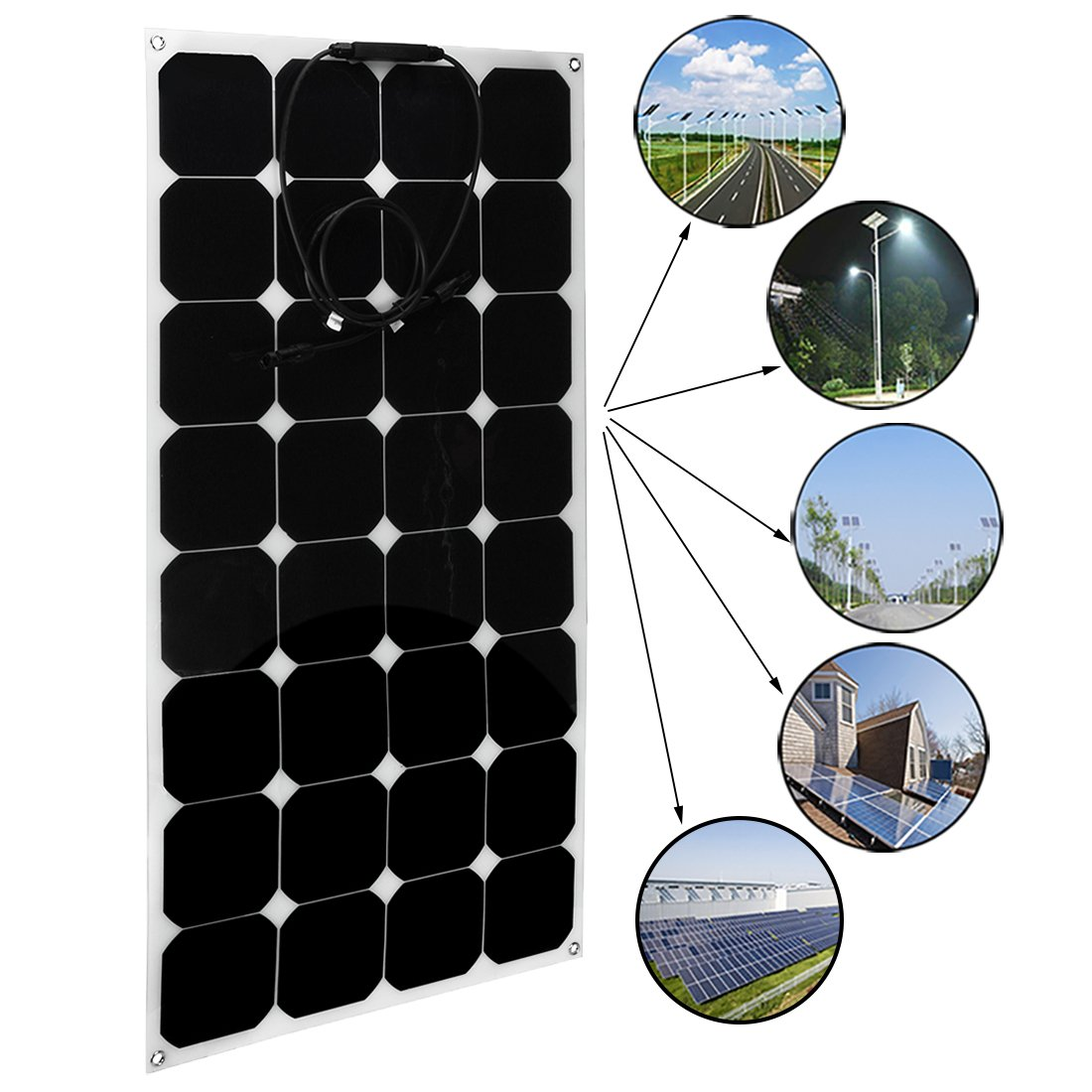 uxcell 2pcs 100W 18V 12V Solar Panel Charger Solar Cell Ultra Thin Flexible with MC4 Connector Charging for RV Boat Cabin Tent Car by BU LU SHI (Image #3)
