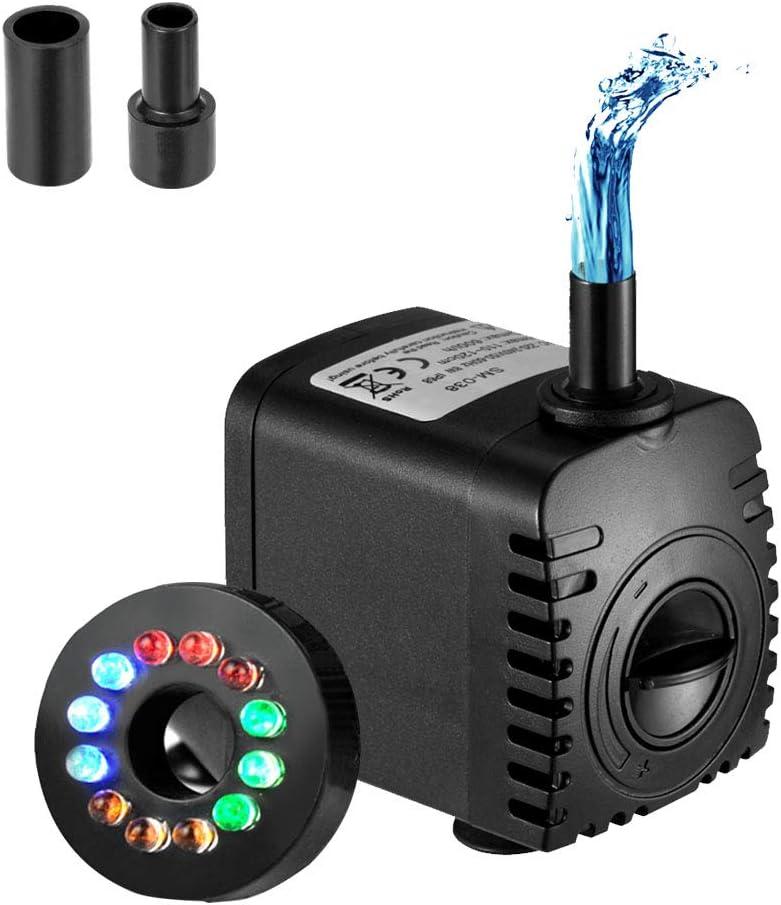 Homvik Bomba de Agua con LED Luces Bomba Sumergible para Acuario Estanque Pecera Fuente Circulación de Agua Dulce y Marino con 2 Boquillas 8W 600L/H 1.2m de Altura