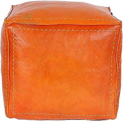 Medina Souvenirs Pouf Quadrato Colore Arancione Trapuntato in Pelle Non Riempito Interamente Fatta a Mano di Alta qualit/à Pouf
