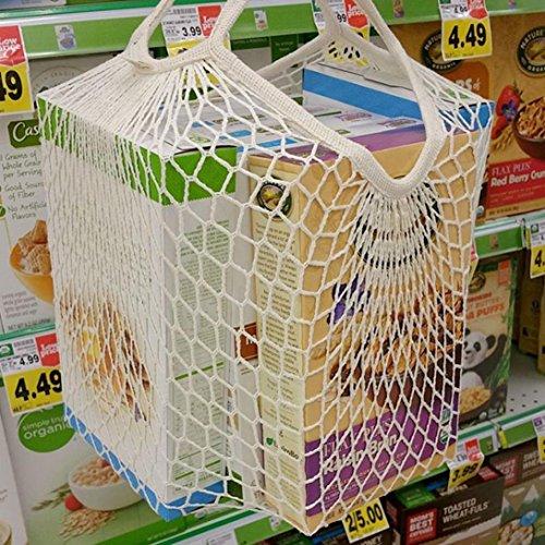 erthome Reusable Mesh Net Turtle Bag String Shopping Bag Reusable Fruit Storage Handbag Totes New White