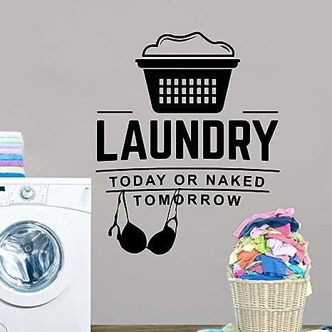 HNXDP 3d etiqueta de la pared para salas de lavandería ...