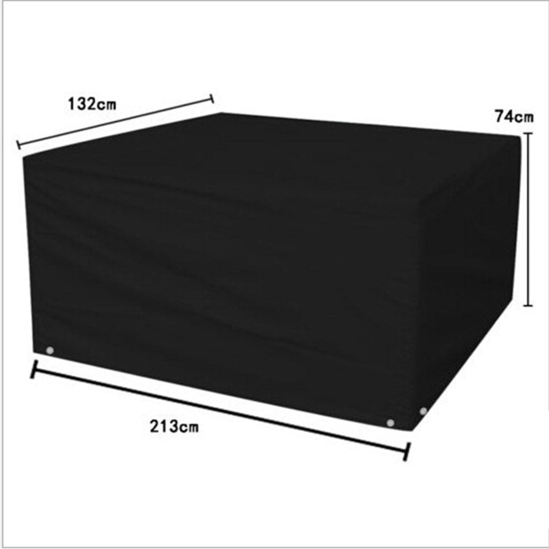 logei Funda para Muebles de Jardín Funda Para Mesas y Sillas al Aire Libre Impermeable y Resistente 213 X132×74cm ,Color Negro