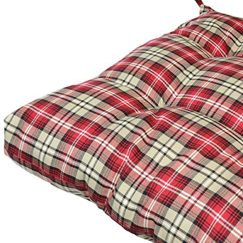 Prettyshop4246 Wicker Warm Cushion Seat Pad Indoor Outdoor Poolside Home Garden Patio Backyard Balcony Linen Fabric Made in USA Product Soap Maintain Easy Clean Red Scott Color Set of 2 Pcs by Prettyshop4246 (Image #9)