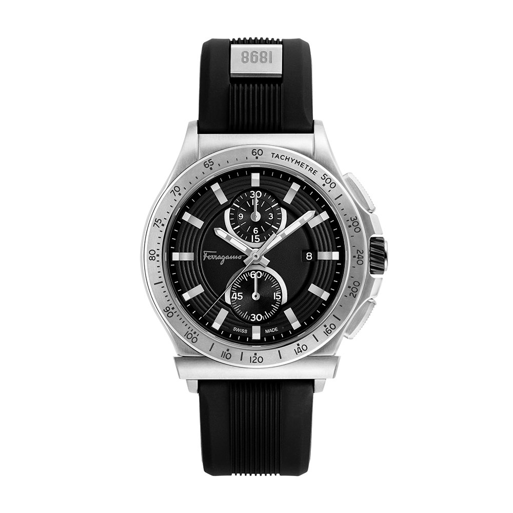 Salvatore Ferragamo Men's Ferragamo 1898 Sport Stainless Steel Swiss-Quartz Watch with Rubber Strap, Black, 22 (Model: FFJ030017)