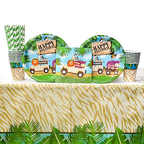 (Safari Adventure Party Supplies Pack for 16 Guests | Straws, 16 Dinner Plates, 16 Luncheon Napkins, Cups, and Table Cover | Throw A Wild Party With Our Jungle Theme Party)