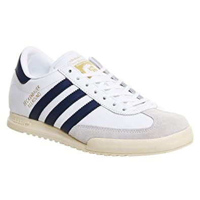 ae9af2aaf016 Adidas Original Beckenbauer Allround- UK 12 - White with Dark Blue Stripes  Trainers