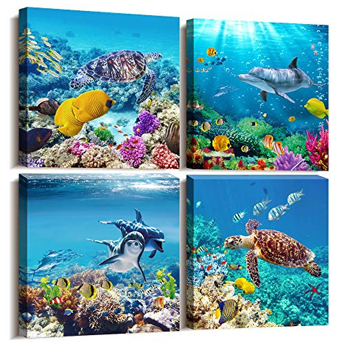 MHART66 Canvas Wall Art - Coral and Fish Modern Home Decor Stretched and Framed Ready to Hang Ocean Theme Sea Fish and sea Turtles Mediterranean Style Canvas Prints The Bathroom Wall Decor- 4 Panels (Decor Wall Coral Bathroom)