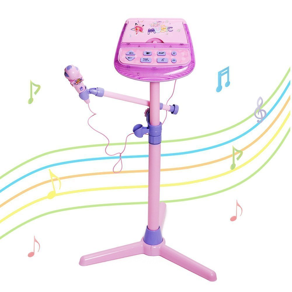 Kids Karaoke Machine, aPerfectLife Rechargeable Kids Microphone Music Karaoke Machine Toy Play Set with Microphones & Adjustable Standc (Pink)