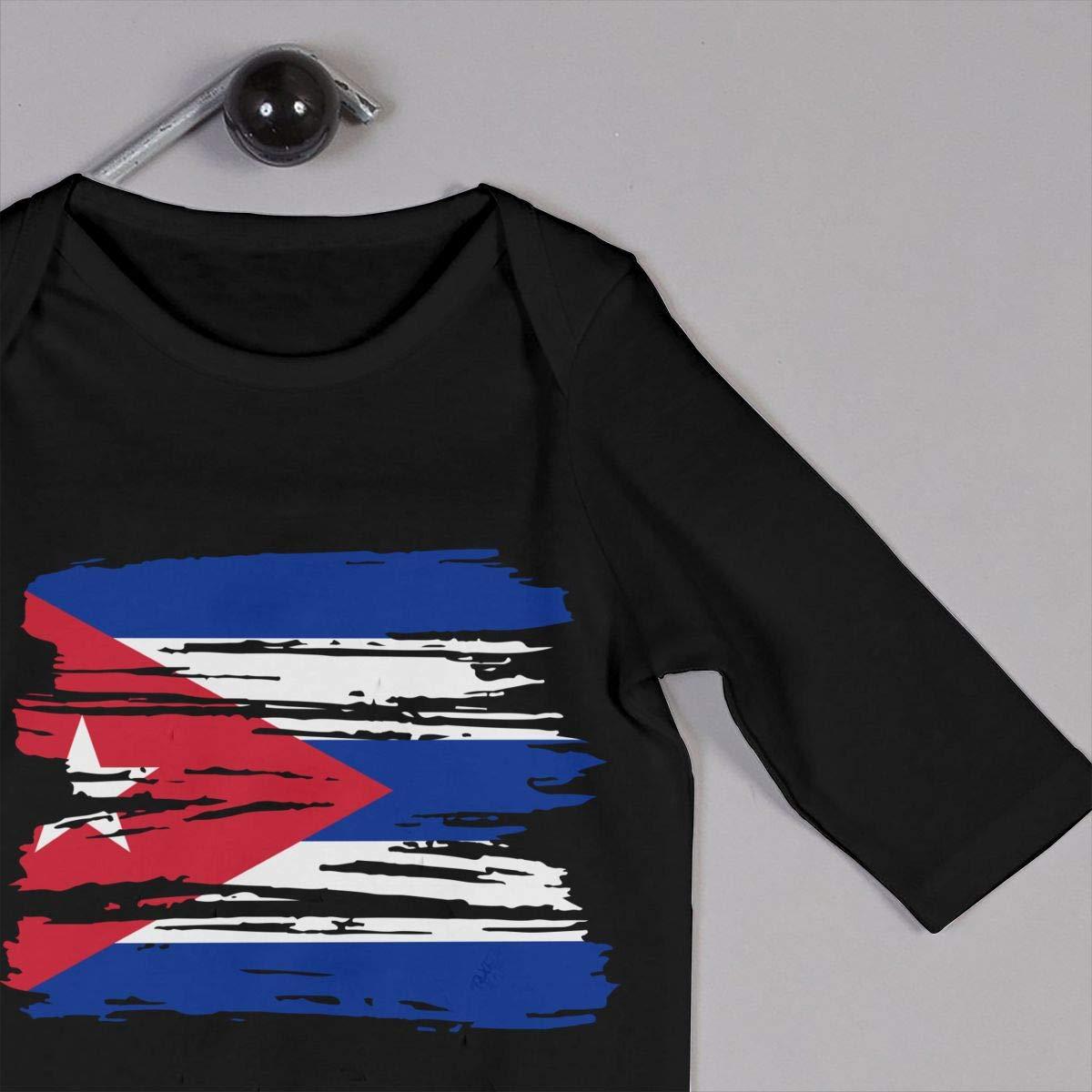 UGFGF-S3 Grunge Cuba Flag Newborn Kids Long Sleeve Bodysuit Infant Romper Jumpsuit