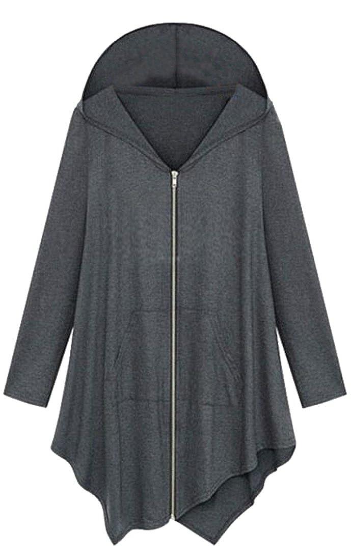 SHOWNO Womens Loose Full Zip Irregular Long Sleeve Hooded Sweatshirt