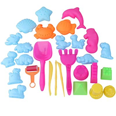 Sand Molds and Tools Kit Animal Mini Sand Castle Molds for Kids Set of 28: Toys & Games