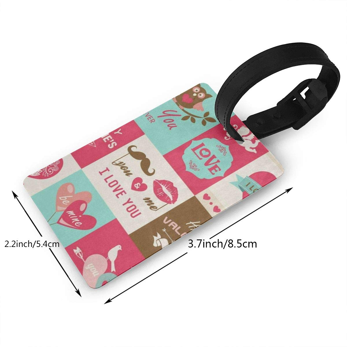 Luggage Tags Valentines Day Bird Heart Bag Tag for Travel 2 PCS