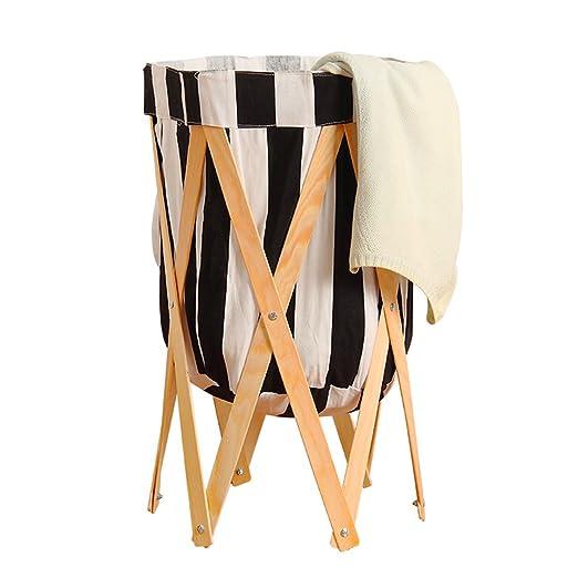 FLM Faltbare Wäschesammler Holz - Pop Up Wäschekorb Faltbar Für Ihre  Schmutzwäsche Kleidung und Kid Spielzeug,Gestreift