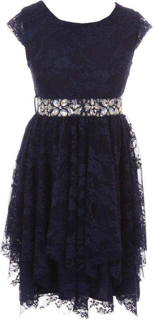 BNY Corner Big Girl Short Sleeve Floral Lace Ruffles Holiday Party Flower Girl Dress Navy 12 JKS 2095