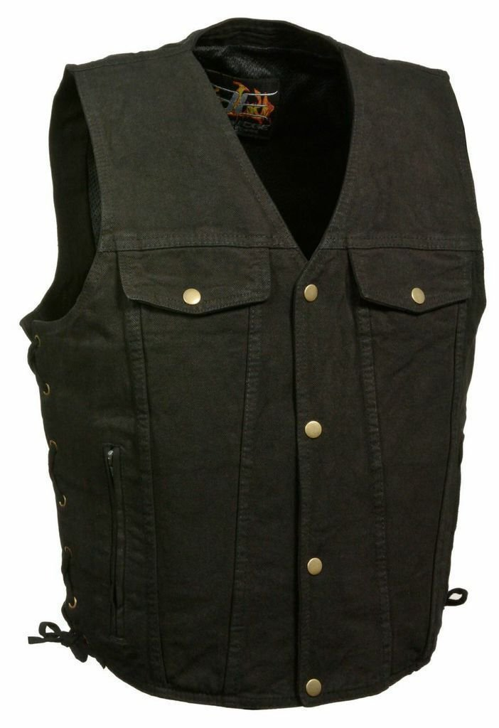 Men's Motorcycle Blk Side Lace Denim Vest W/2 Gun Pockets Chest & Side Pockets(Regular M)