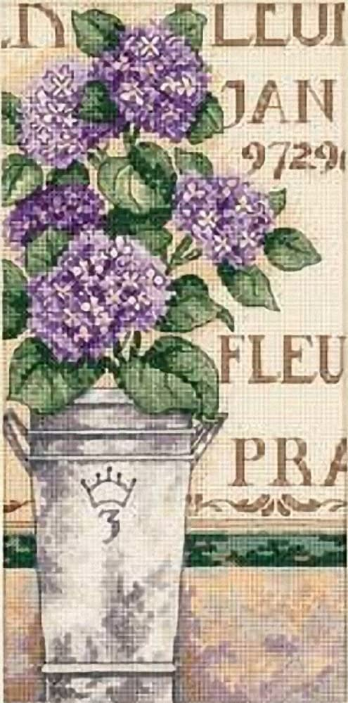 Dimensions Needlecrafts Hydrangea In Bloom Gold Petite Counted Cross Stitch Kit