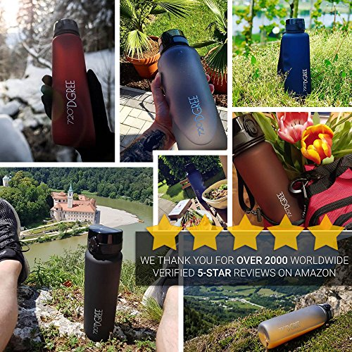 720°DGREE Water Bottle uberBottle Sports Bottles - Tritan Plastic - BPA Free | Ideal Drinking for School, Fitness, Outdoor, Camping | Simple 1-Click Opening | Black, 1 Liter, 32oz by 720°DGREE (Image #3)