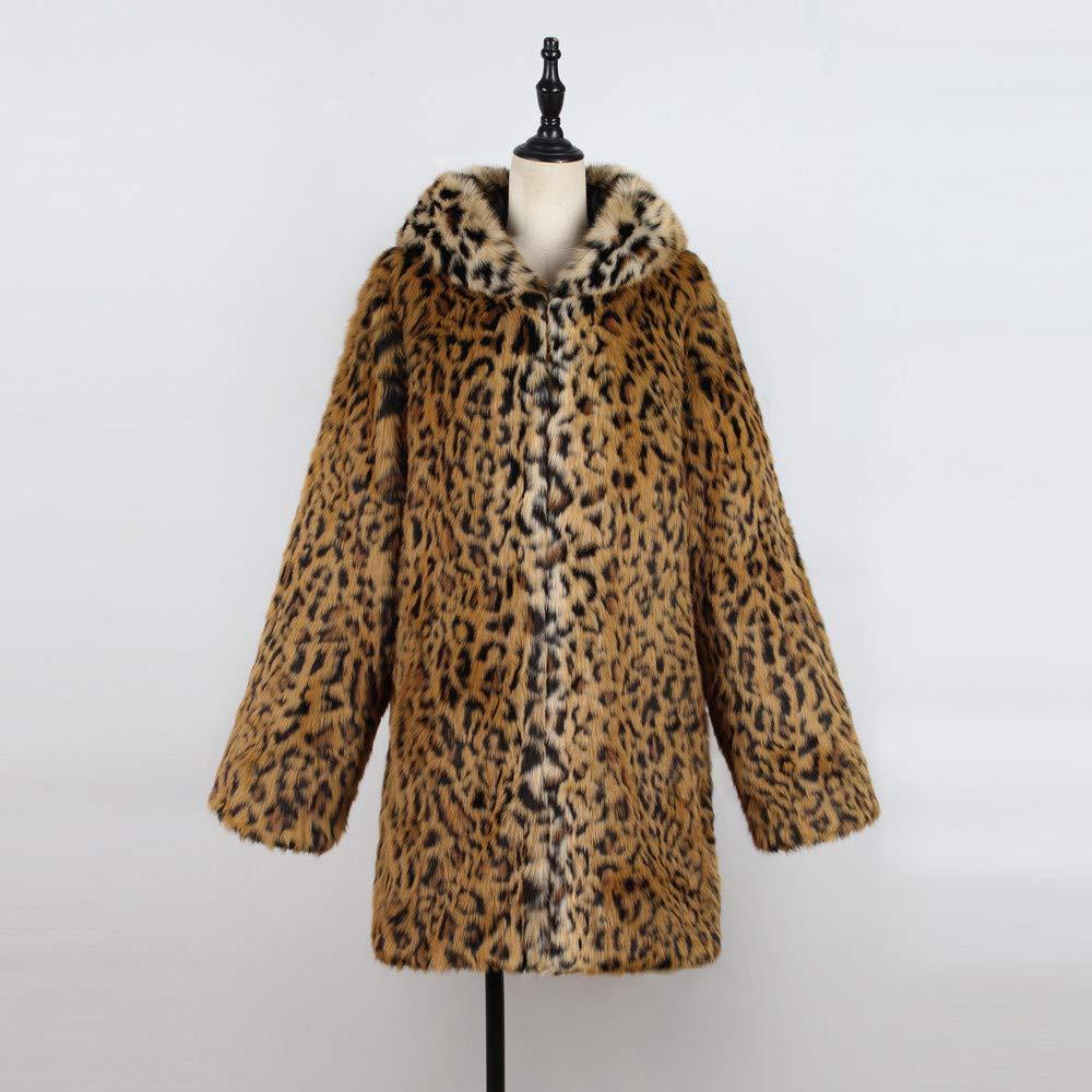VJGOAL Moda Casual de Invierno para Mujer Leopardo cálido Abrigo de Piel sintética con Capucha Chaqueta Parka Abrigos(M,Amarillo): Amazon.es: Ropa y ...