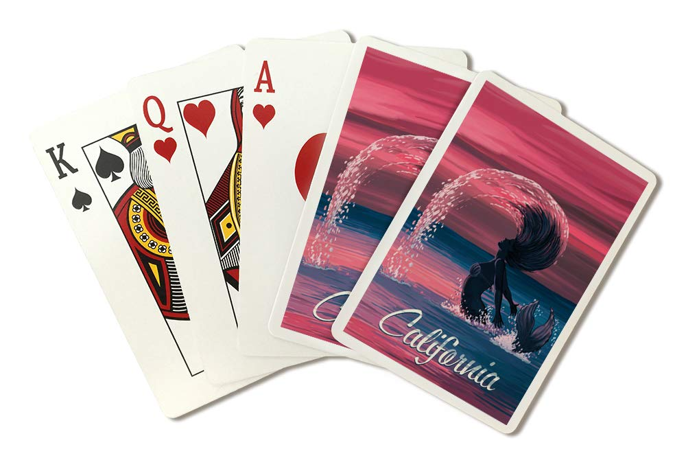 California - Silhouette Mermaid Hairflip at Dusk (Playing Card Deck - 52 Card Poker Size with Jokers) by Lantern Press