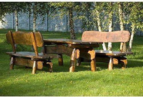 Timber Line Asiento Grupo Muebles de Jardín Rústico 150 cm Exterior, Color: sin Tratar; Material: Roble: Amazon.es: Jardín