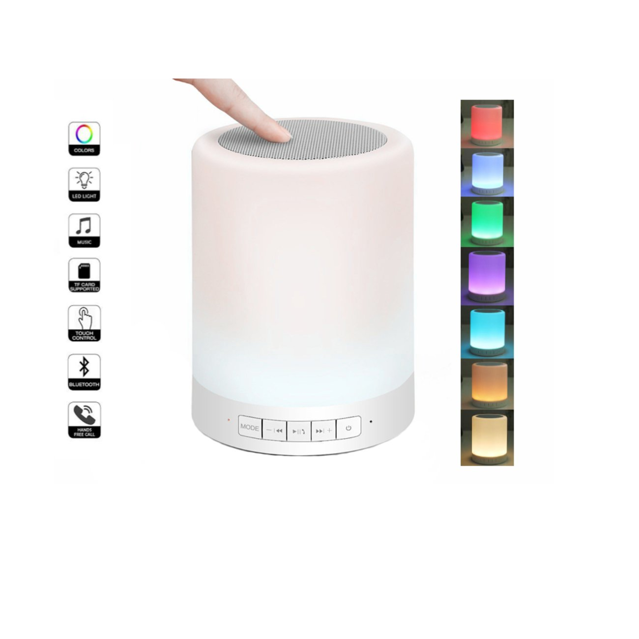 YIFENGHUI,Night Lamp,Wireless Bluetooth Speaker Touch Control 7 Color Transform Pattern,Hands-Free Speaker,Rechargeable LED Bluetooth Speaker,Suitable for Children's Room, Outdoor Or Hiking (White)