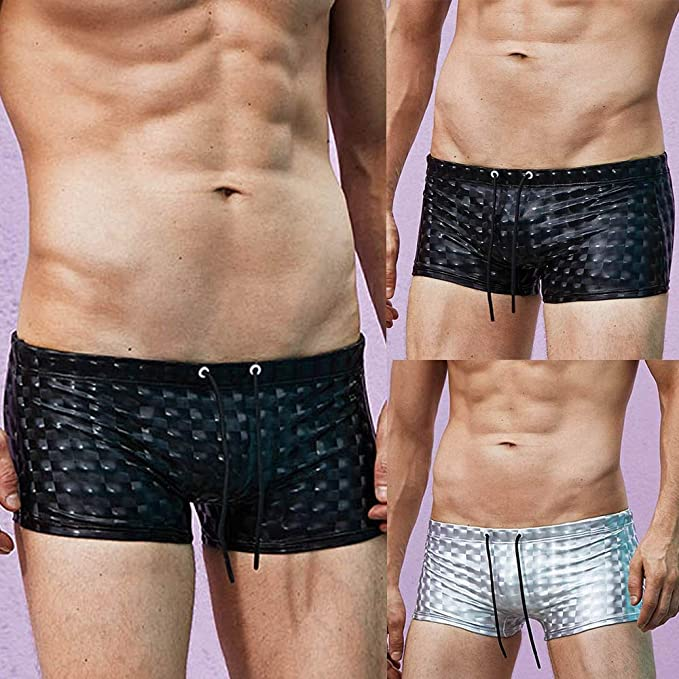 417e3dc910c Xindeek Swimwear Reflective Fashion Sexy Patchwork Swim Trunks Beach Shorts  Wear Slim Bikini Brief | Amazon.com