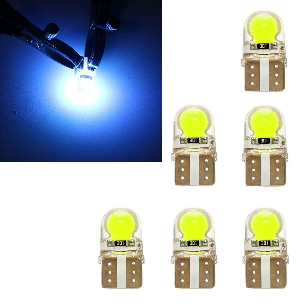 Itimo 6pcs COB LED auto luce targa DC 12 V silica auto strumento lampadine luci auto tronco lampada di segnale W5 W T10 (ICE Blue)