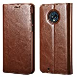 icarercase Moto G6 Case, Vegan Leather Wallet Case/Flip Case Protective Shock Resistant Case Cover with Credit Card Slots for Motorola Moto G6 (Brown)