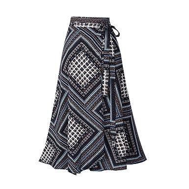5933000240 Women Boho Print High Waist Side Wrap Split Ruffled Hem Maxi Long Skirt  Black