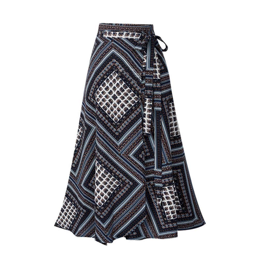 〓COOlCCI〓Women's Long Bohemian Hippie Skirt Boho Dresses Asymmetric Hem Design Vintage Long Maxi Skirt Black