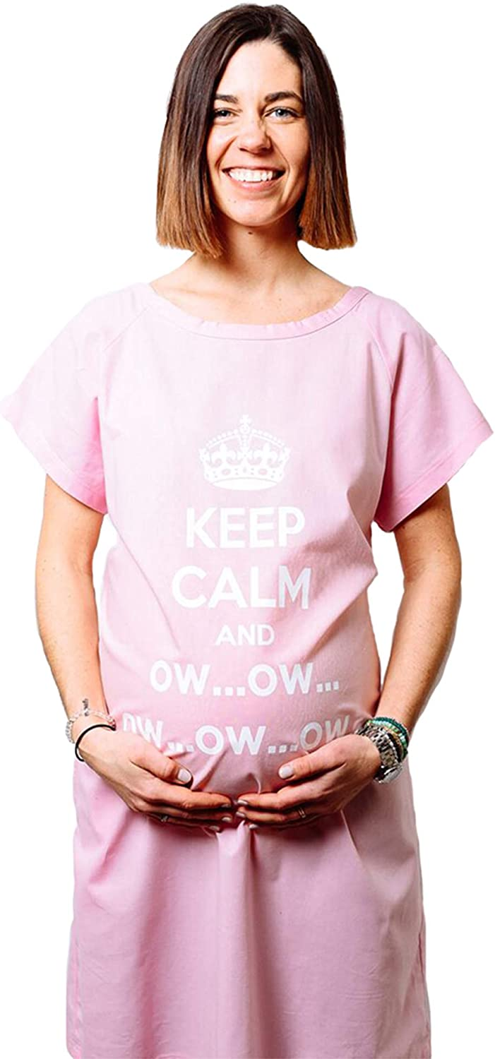 Giftgowns -Maternity Hospital Gown-Labor, Nursing, and Recovery- 100% Cotton -Keep Calm and Ow (Pink)